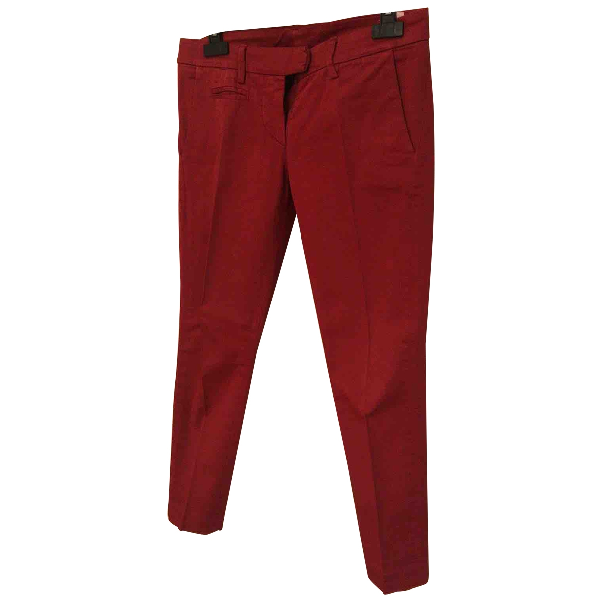 Dondup \N Red Cotton Trousers for Women 40 IT