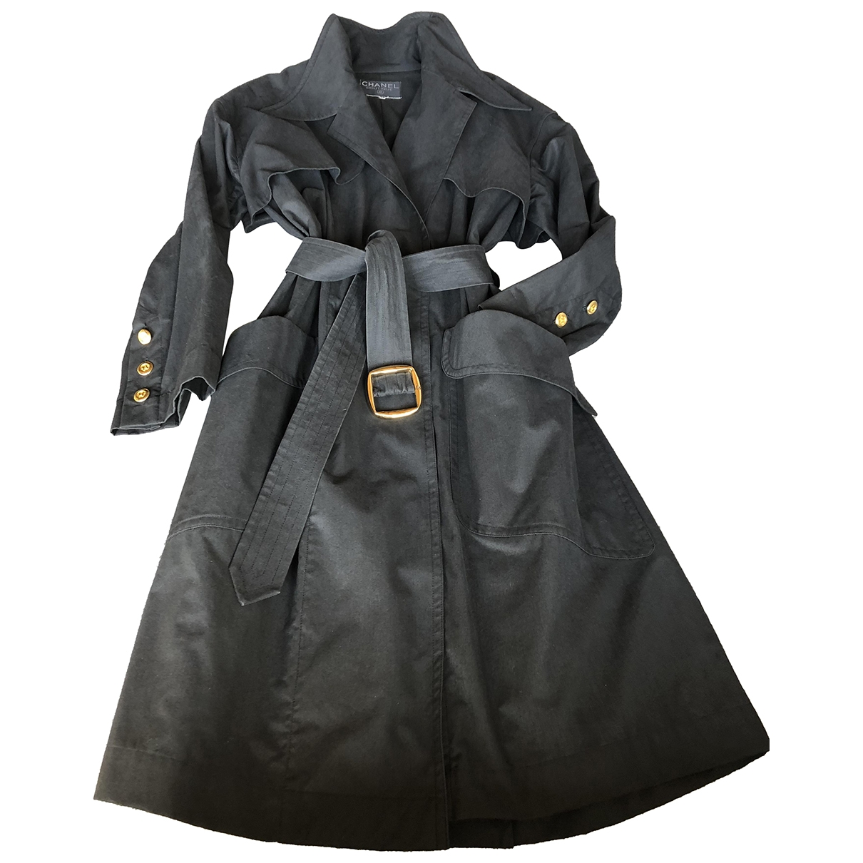 Chanel \N Black Cotton Trench coat for Women 38 FR