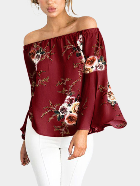 Yoins Red Chiffon Floral Print Off The Shoulder Long Sleeves Blouses