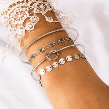 4 Stuecke Armband mit Scheibe Dekor