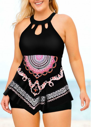 Women'S Black Tribal Printed Plus Size Tankini Swimsuit Two Piece Lattice Front Asymmetric Hem Padded Wire Free Bathing Suit And Shorts By - 1X
