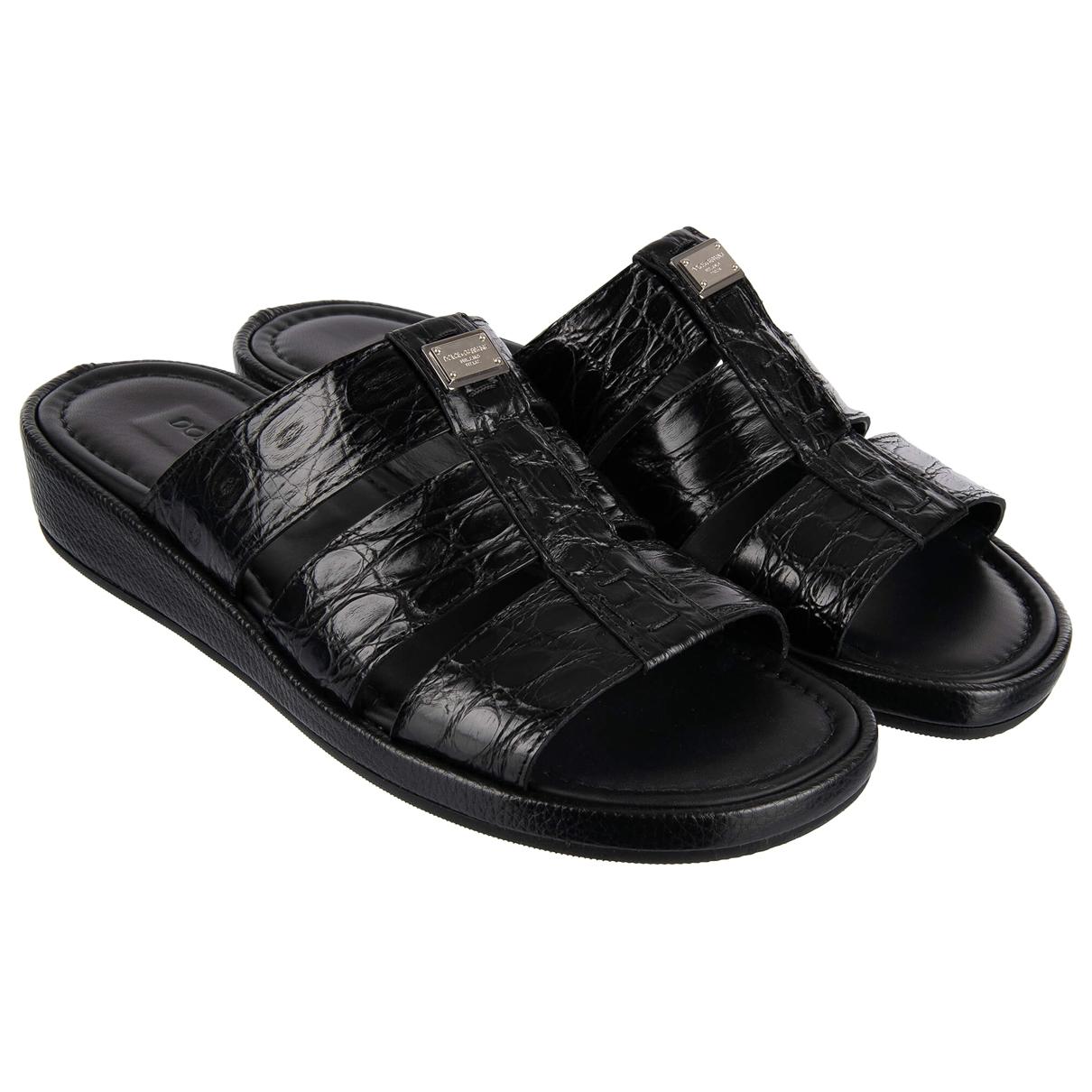 Dolce & Gabbana - Sandales   pour homme en crocodile - noir