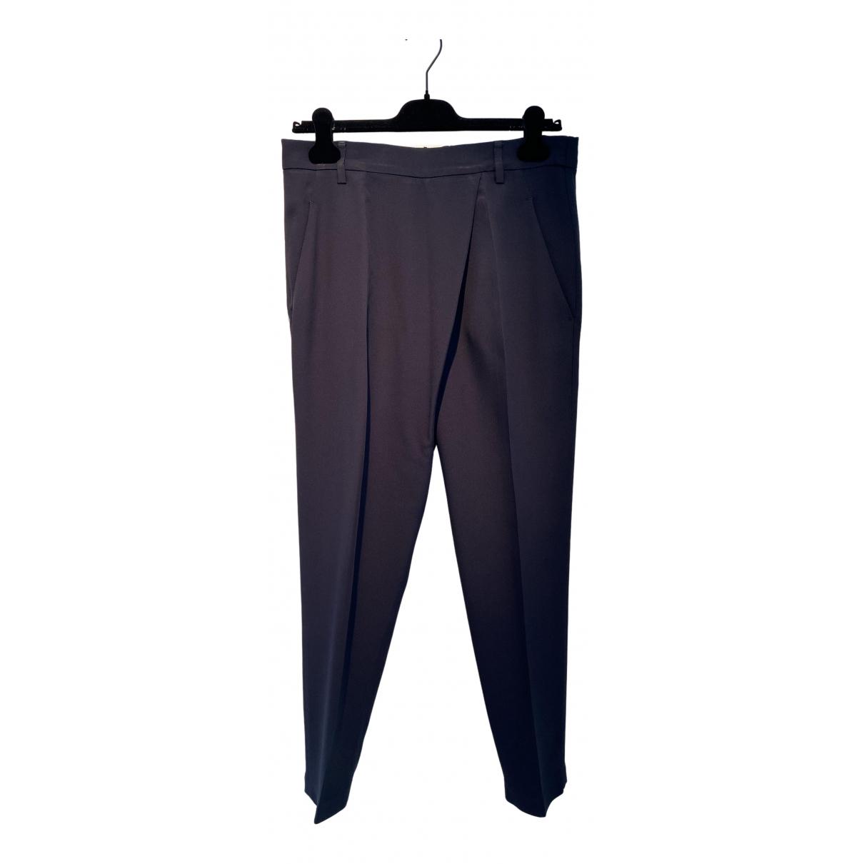 Brunello Cucinelli \N Navy Silk Trousers for Women 40 IT