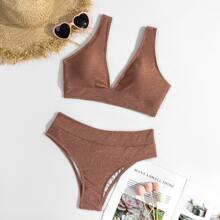 Bikini Badeanzug mit Glitzer und V Kragen