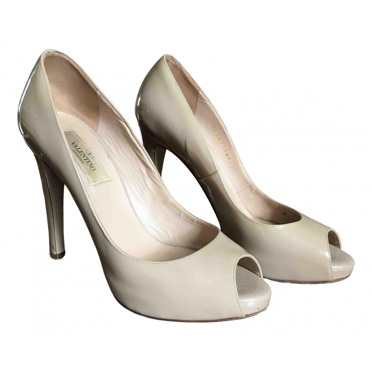 Valentino Garavani N Beige Patent leather Heels for Women 37 EU