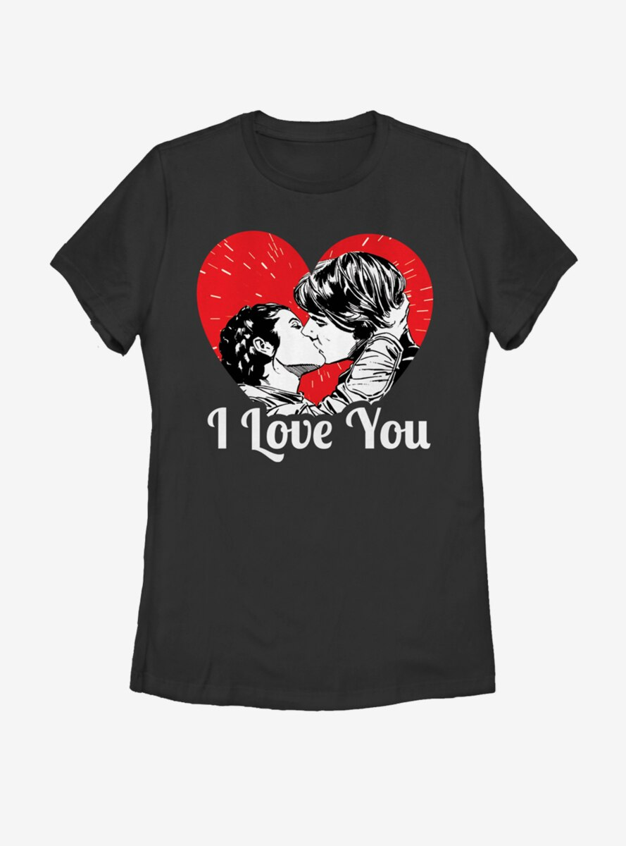 Star Wars Han and Leia I Love You Heart Womens T-Shirt