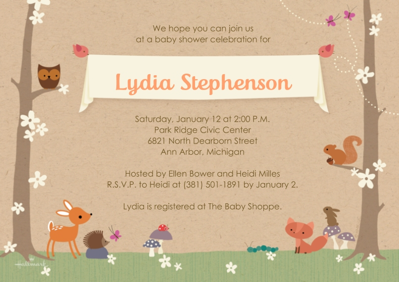 Baby Shower Invitations 5x7 Cards, Premium Cardstock 120lb, Card & Stationery -Sweet Woodland