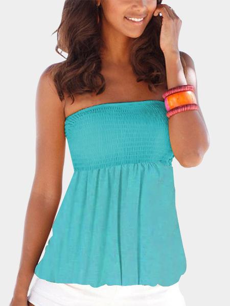 YOINS Blue Pleated Design Strapless Cami