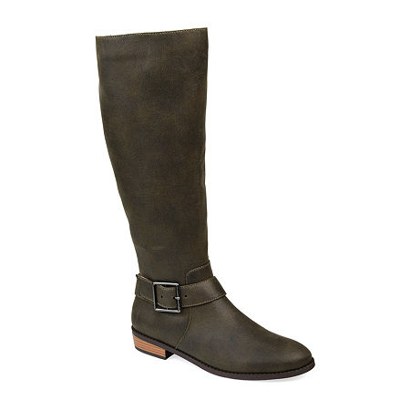 Journee Collection Womens Winona Riding Boots Stacked Heel, 8 Medium, Green