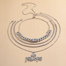 4 piezas collar con diamante de imitacion