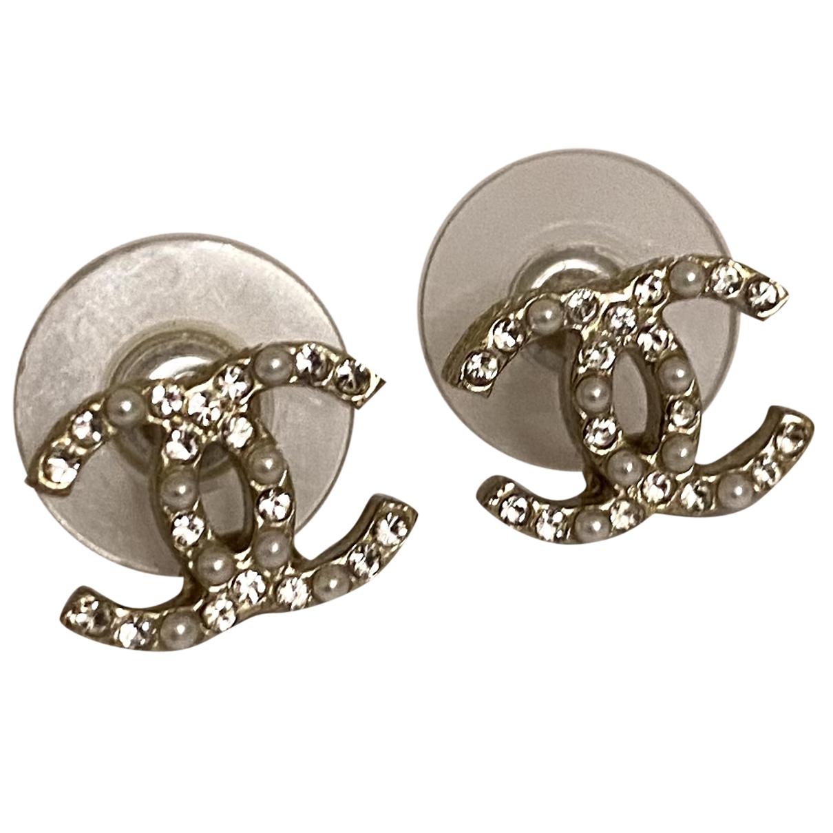 Chanel CC Silver Metal Earrings for Women N