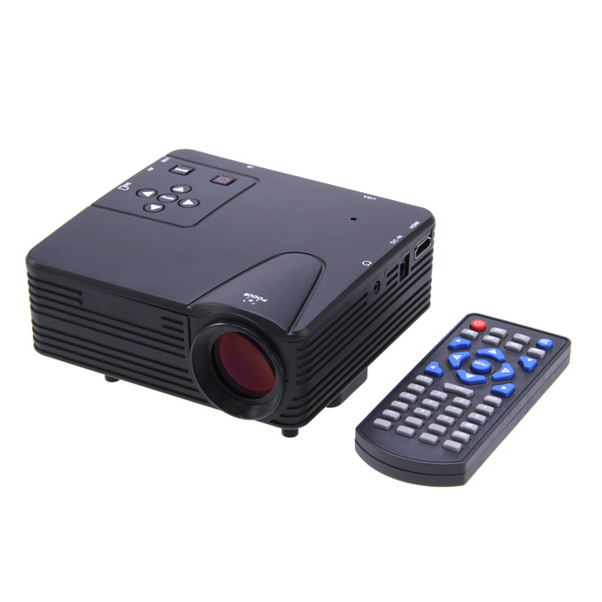 LZ-H80 1080P HD 80 LM Portable LED LCD Game Projector with HDMI SD CARD USB VGA Slots 400:1 Contrast Black