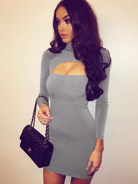 Milanoo Sexy Bodycon Dress Black Short Dress Women High Collar Long Sleeve Cut Out Slim Fit Sheath Dress