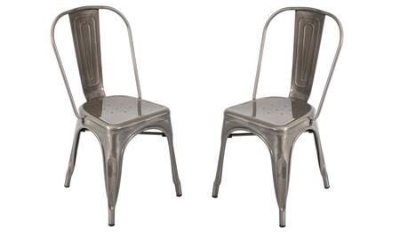 DC-TW-OR SV2 Oregon Stackable Industrial Dining Chair - Set Of 2 in Brushed