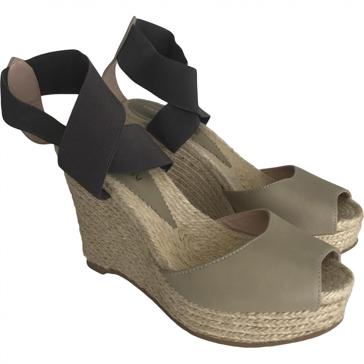 Emporio Armani \N Khaki Leather Heels for Women 38 EU