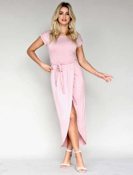 Milanoo Maxi Summer Dress Short Sleeve Sash High Low Long Dress
