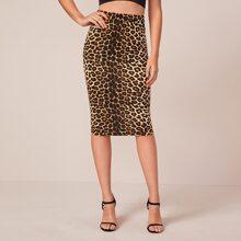 Rock mit Leopard Muster und hoher Taille