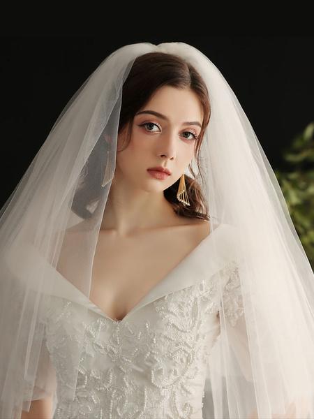 Milanoo Wedding Veil Three-Tier Tulle Cut Edge Classic Bridal Veils