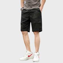 Maenner Shorts mit Camo Muster und Kordelzug um die Taille