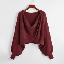Draped Batwing Sleeve Crop Sweater