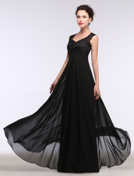 Milanoo Black Evening Dress Lace Sweatheart Maxi Party Dress A Line Sleeveless Floor Length Mother's Dress