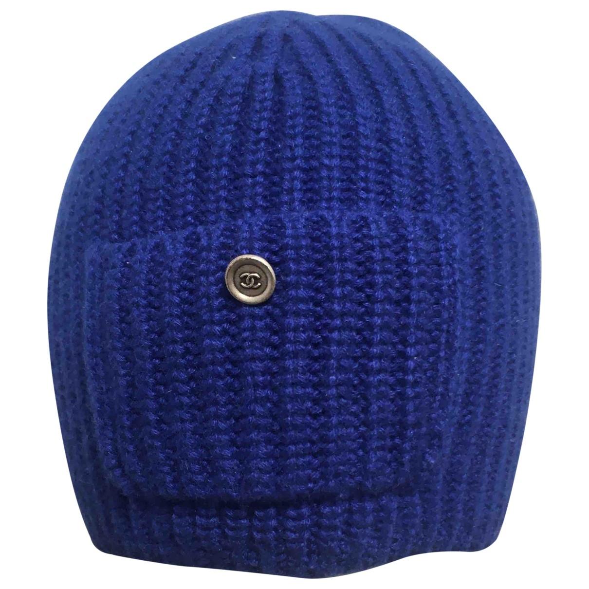 Chanel \N Hut in  Blau Wolle