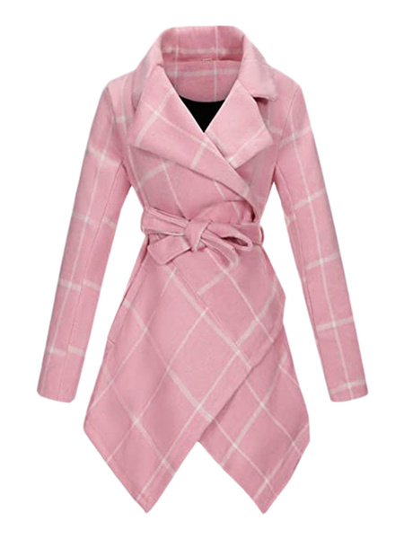 Milanoo Woman\'s Coat Black Turndown Collar Long Sleeves Knotted Plaid Casual Wrap Coat
