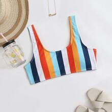 Colorful Striped Bikini Top