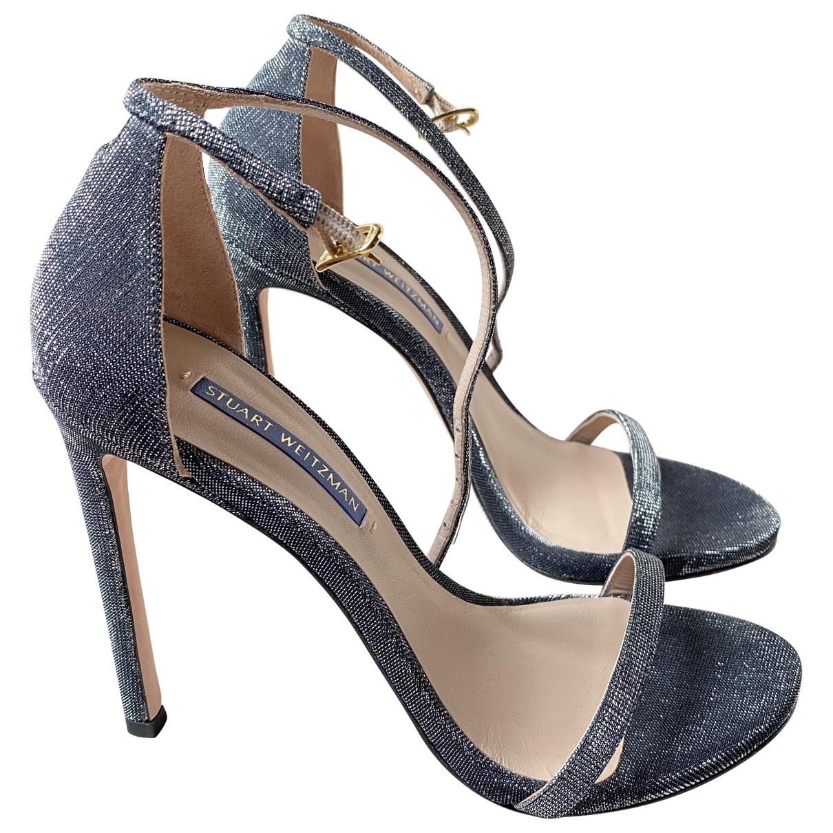 Stuart Weitzman \N Black Glitter Sandals for Women 37.5 EU