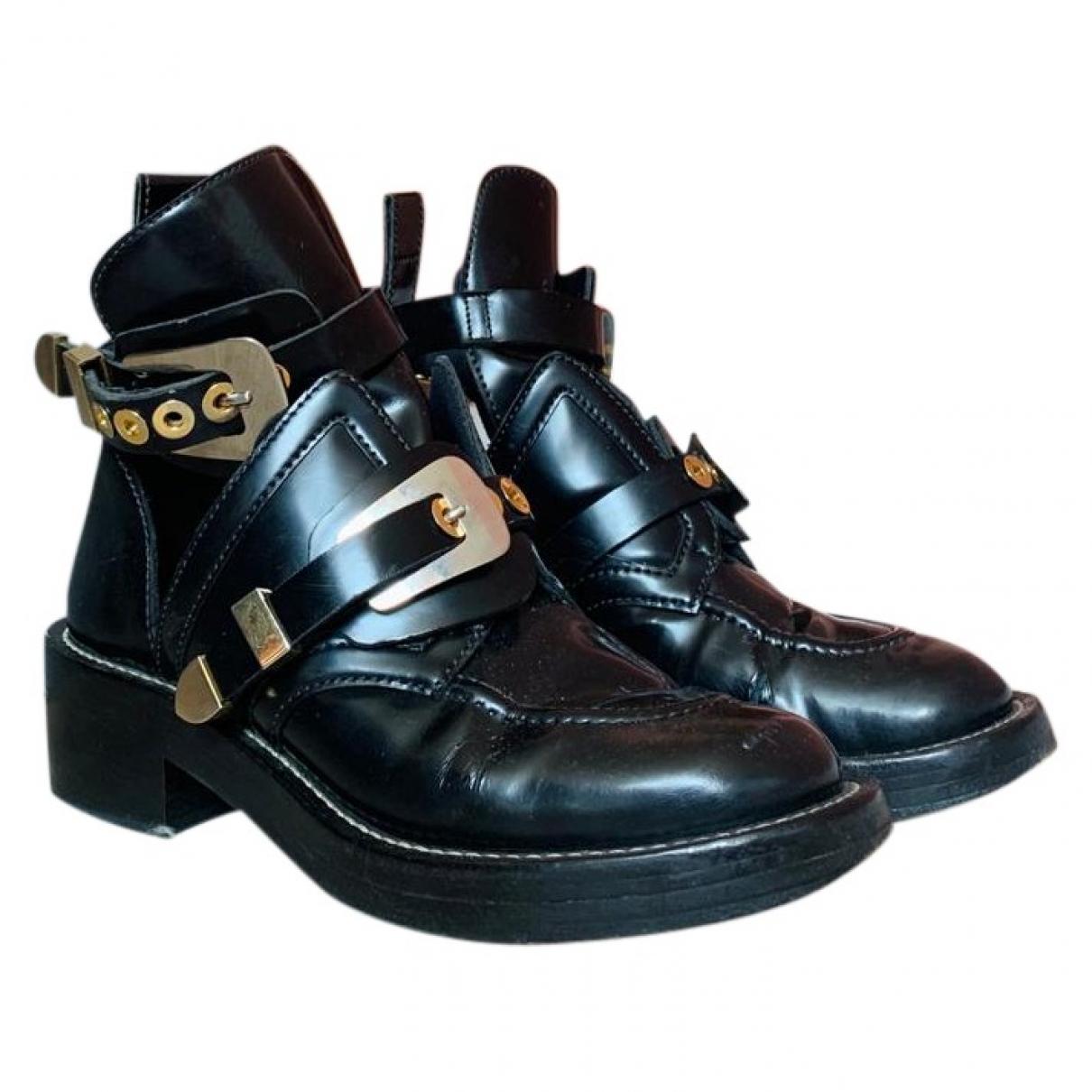 Balenciaga - Boots Ceinture pour femme en cuir - noir
