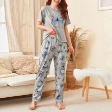 Letter & Butterfly Print Pajama Set