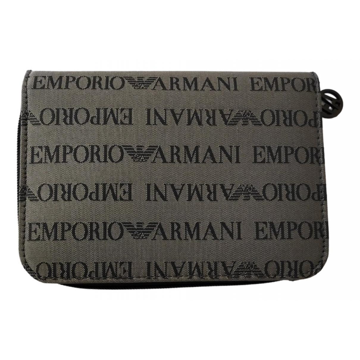Emporio Armani \N Portemonnaie in  Grau Leinen