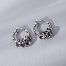 Men Round Design Earrings