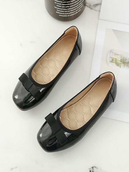 Milanoo Flower Girl Shoes Black PU Leather Square Toe Bows Ballet Flats