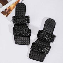 Braided Strap Slide Sandals