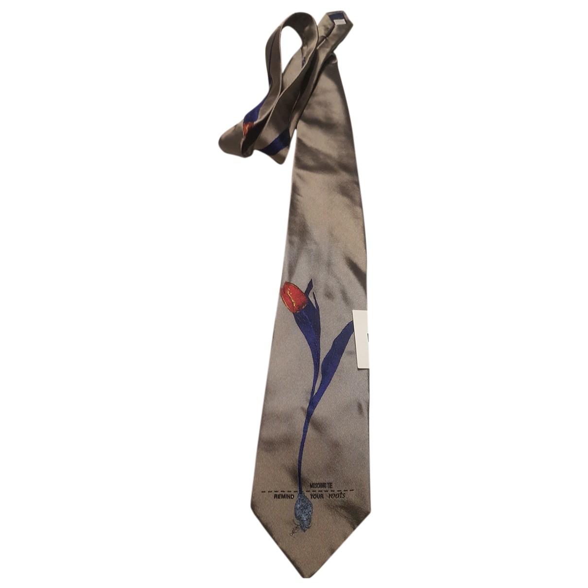 Moschino - Cravates   pour homme en soie - gris