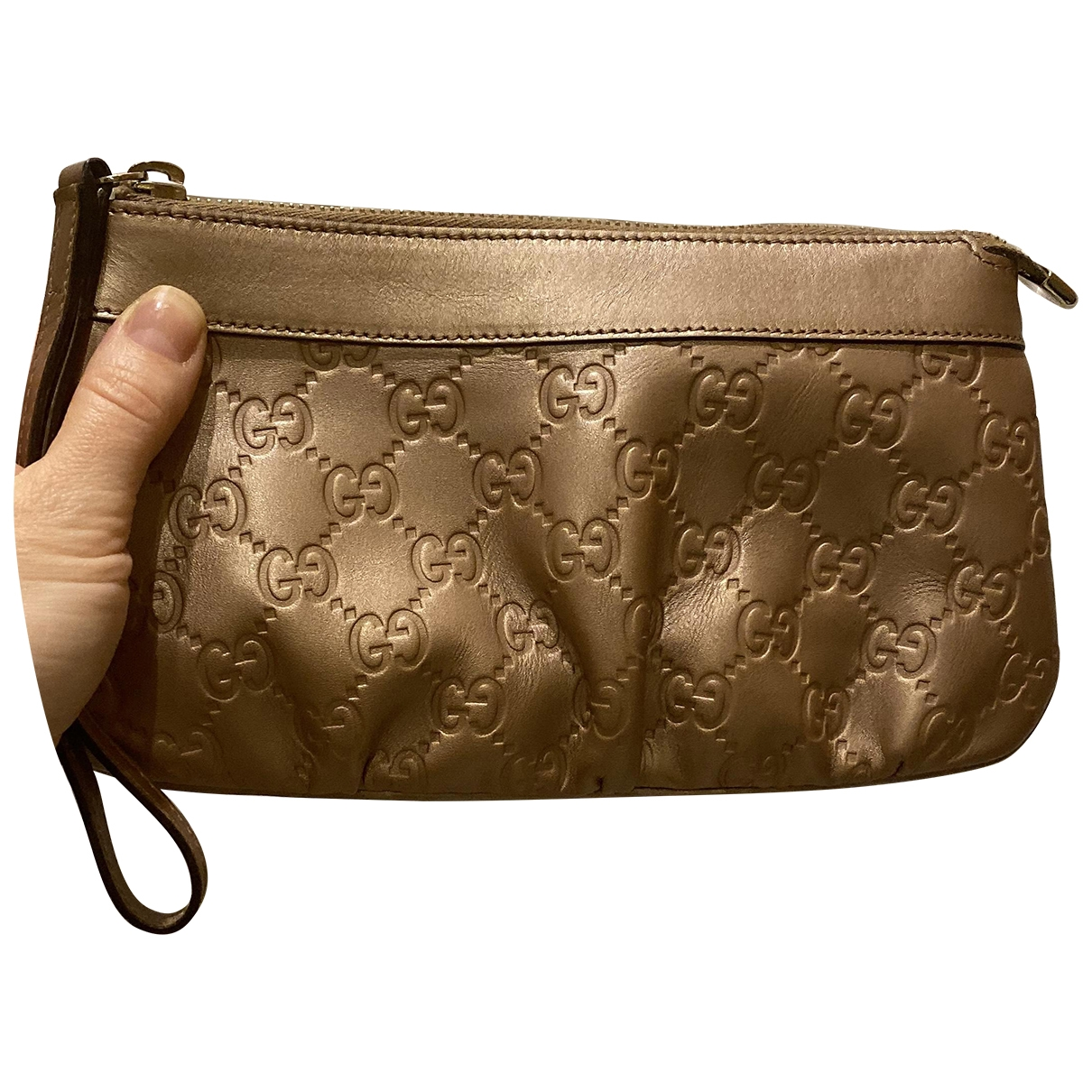 Gucci - Pochette   pour femme en cuir - dore