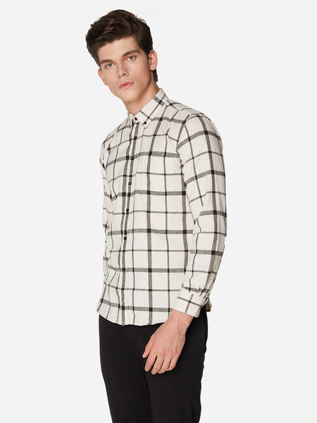 Yoins White With Grey Line Classic Collar Long Sleeve Men's Casual Shirt
