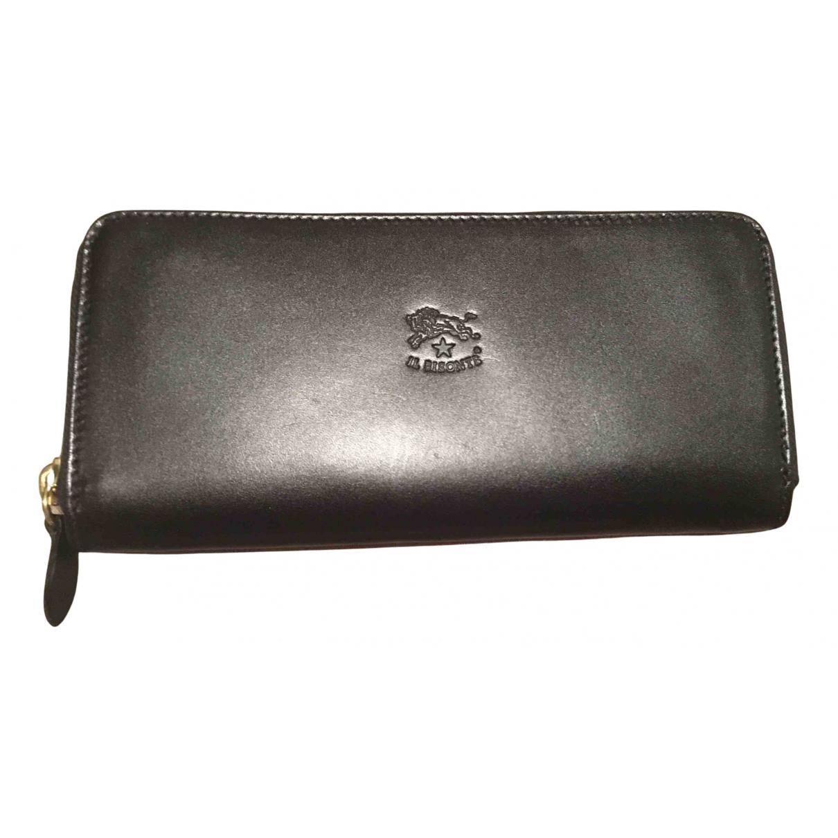 Il Bisonte - Portefeuille   pour femme en cuir - noir