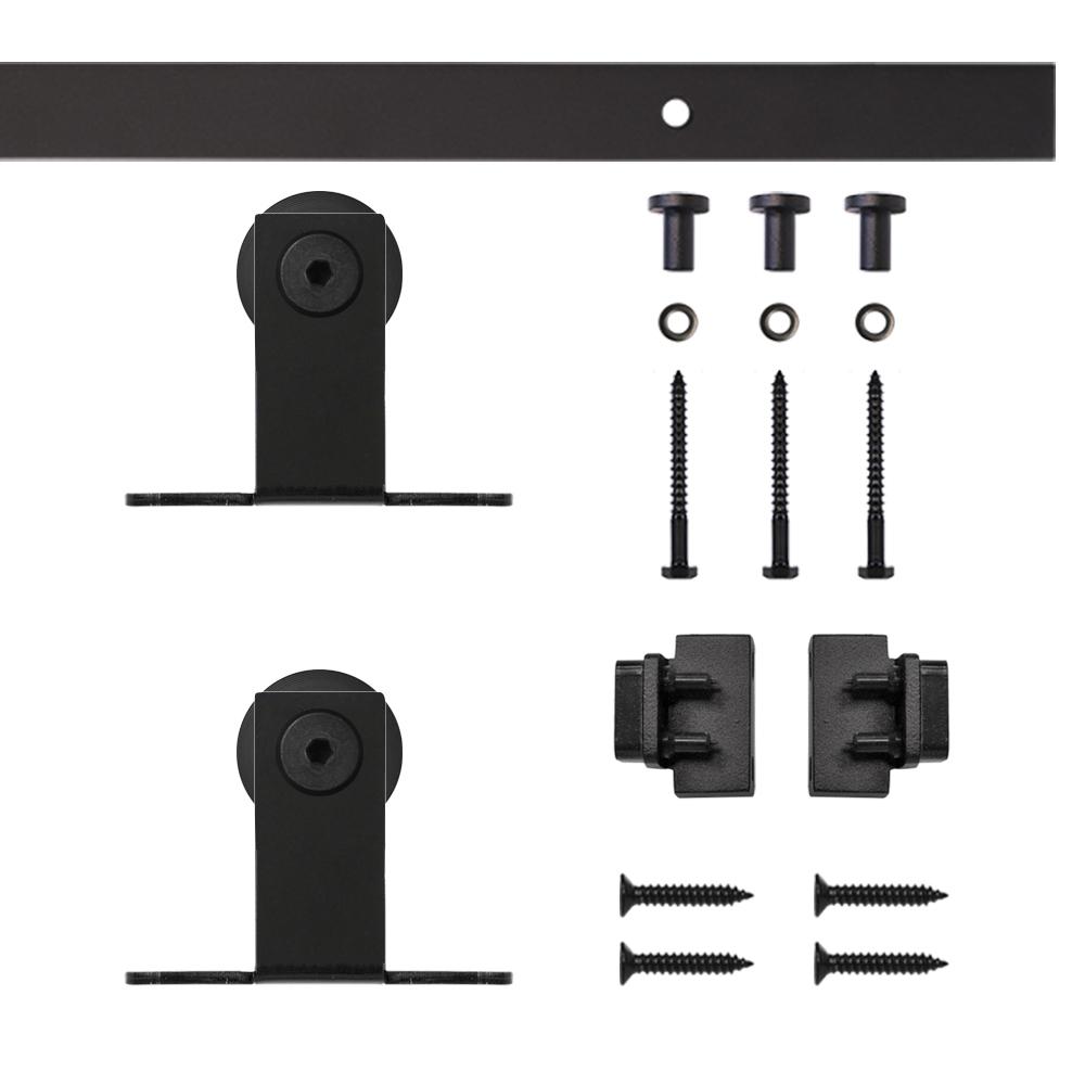 Black Top Mount Rolling Single Furniture Door Kit with 4-ft. Rail