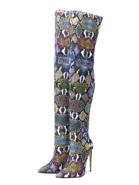 Milanoo Botas sobre la rodilla Tacones de aguja con estampado de serpiente en punta verde Botas de invierno para mujer