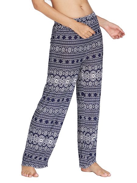 Yoins Kenoce Navy Tribal Print Middle-Waisted Pants