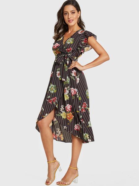 YOINS Coffee Random Floral Print Wrap Design Dress