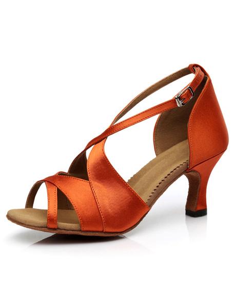 Milanoo Light Brown Latin Dance Sandals Satin Heels for Women