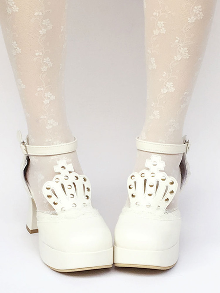 Milanoo White Lolita Shoes T Strap Chunky Heel Platform Stud Lovely Lolita Pumps Shoes