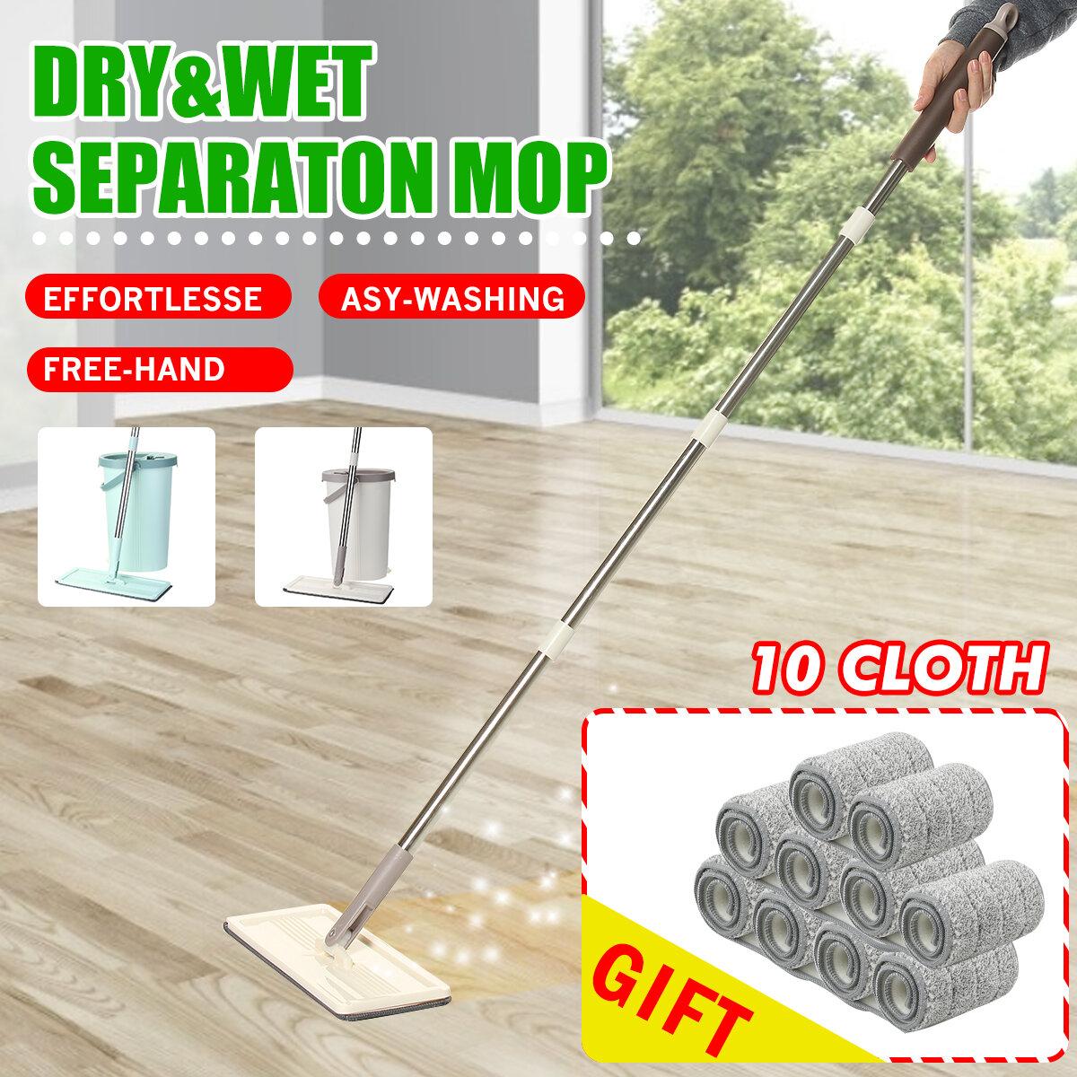 Flat Bucket Mops Fiber Cleaning Free Hand Spin Washing Ultrafine Magic Floor Mop