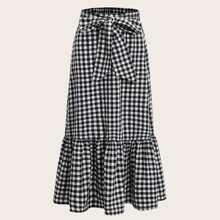 Plus Ruffle Hem Knot Front Gingham Skirt