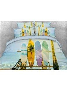 Surfing Skateboard Beach Pattern Cotton Printed 4-Piece 3D Bedding Sets/Duvet Covers