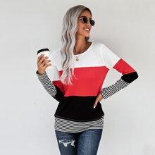 Camiseta de color combinado con estampado de rayas
