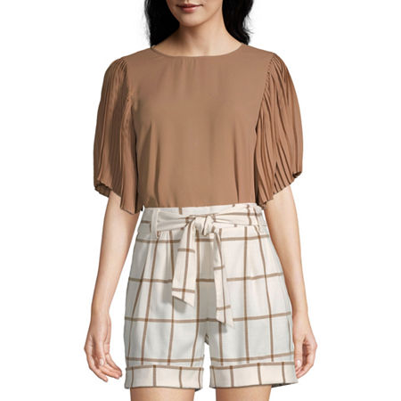Worthington Womens Pleat Sleeve Crew Top - Tall, X-large Tall , Brown